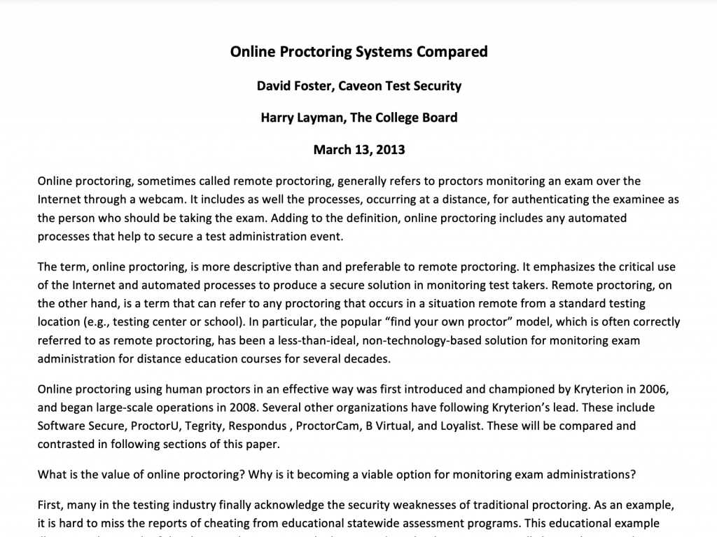 Online Proctoring Systems Compared​: White Paper