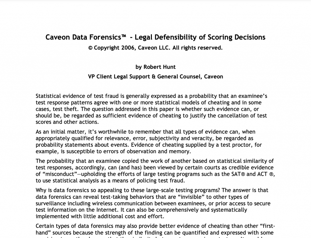 Legal Defensibility of Scoring Decisions​: White Paper