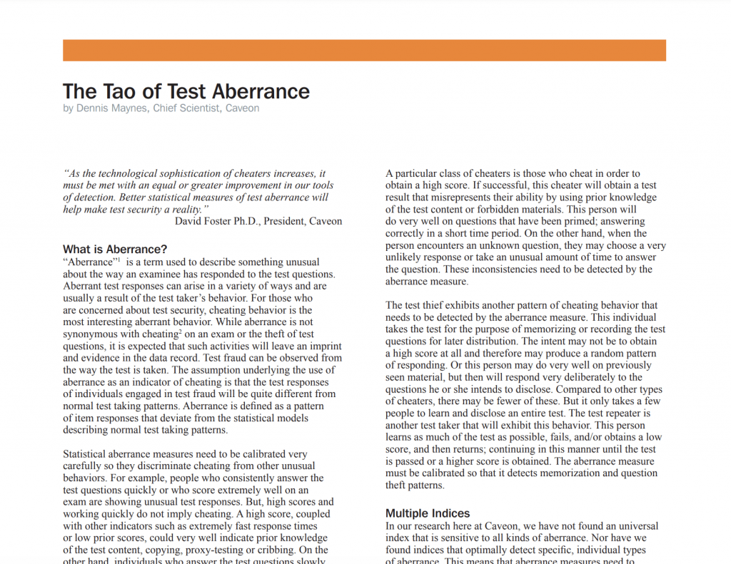 The Tao of Test Aberrance​: White Paper