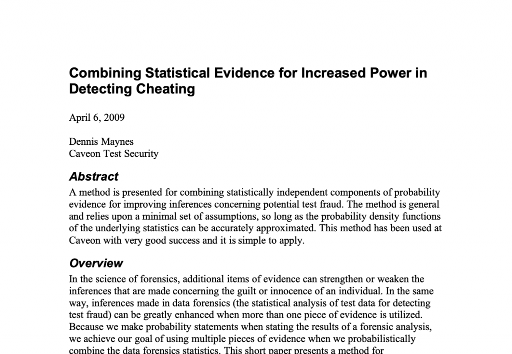 Combining Statistical Evidence for Increased Power in Detecting Cheating​: White Paper