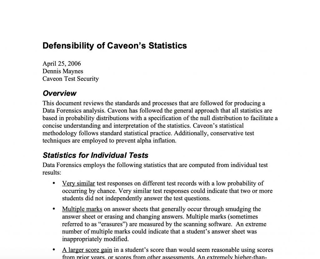 Defensibility of Caveon's Statistics​: White Paper