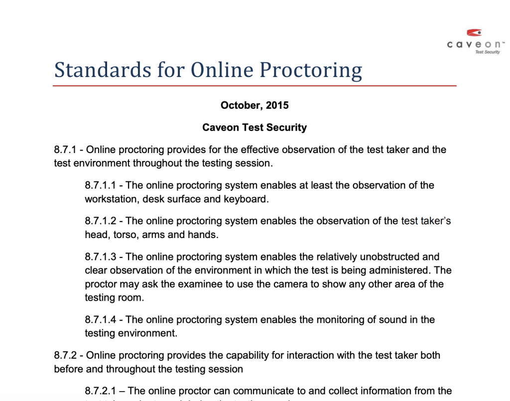Standards for Online Proctoring: White Paper